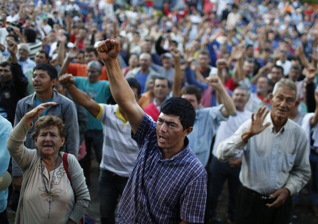 Manifestaciones por parte de los campesinos Paraguay (archivo)