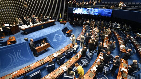 Picture taken during he Senate's session to read the Lower House's decision to go ahead with the impeachment of Brazil's President Dilma Rousseff, in Brasilia on April 19, 2016. - Sputnik Mundo