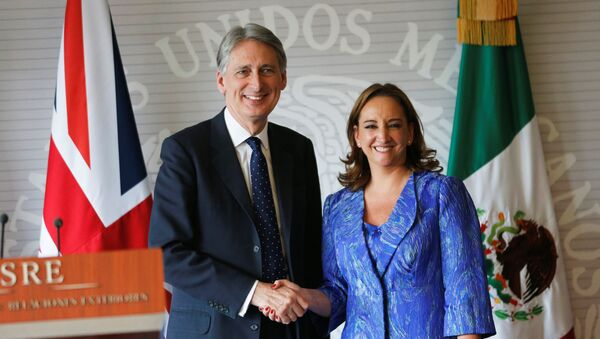 Philip Hammond, canciller de Reino Unido, y Claudia Ruiz Massieu, canciller de México - Sputnik Mundo