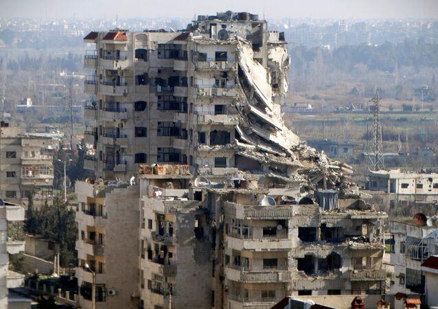 Edificio destruido en Homs, Siria