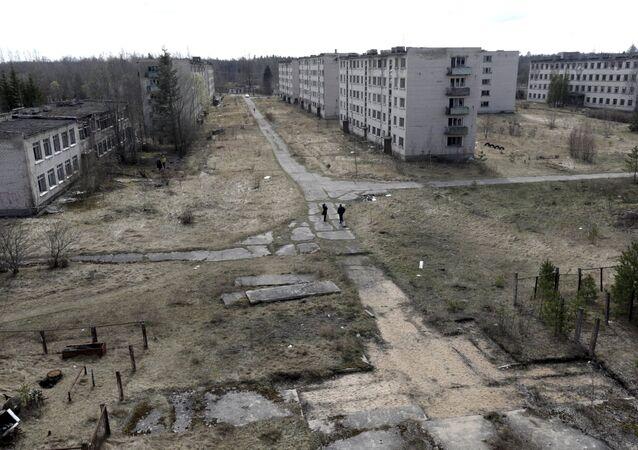 La vista de una ciudad abandonada en las cercanias de Skrunda, Letonia
