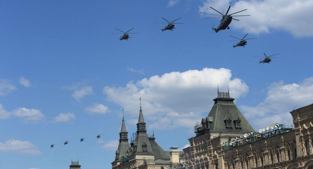 Ensayo general del Desfile de la Victoria en la Plaza Roja de Moscú