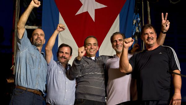 Members of The Cuban Five, from left, Gerardo Hernandez, Fernando Gonzalez, Antonio Guerrero, Rene Gonzalez and Ramon Labanino - Sputnik Mundo