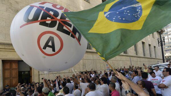 Protestas contra Uber en Sao Paulo (archivo) - Sputnik Mundo