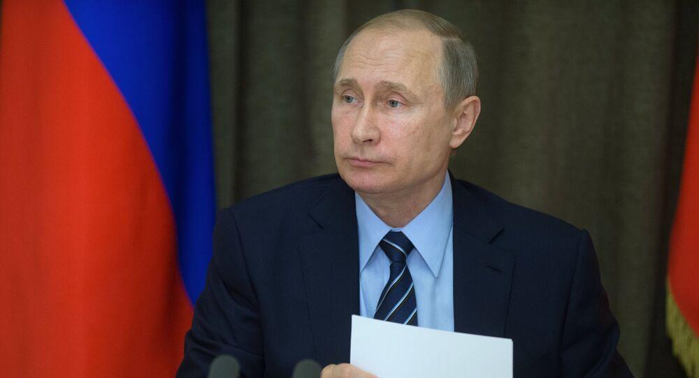 Presidente de Rusia, Vladímir Putin, durante la reunión dedicada al desarrollo de la industria militar rusa