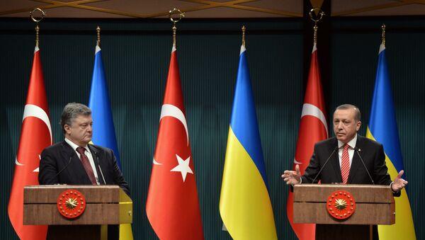 Presidente de Ucrania, Petró Poroshenko y el presidente de Turquía, Recep Tayipp Erdogan (archivo) - Sputnik Mundo