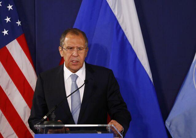 Serguéi Lavrov, ministro de Exteriores de Rusia, durante la rueda de prensa en Viena