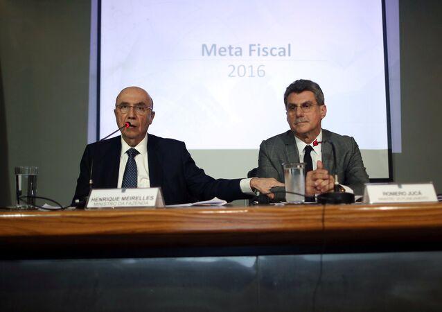 Henrique Meirelles y Romero Jucá, ministros de Finanzas y Planificación de Brasil