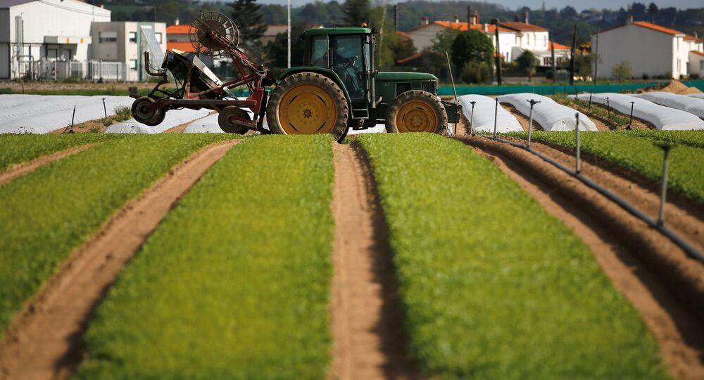 Agricultor francés conduce su tractor en el campo en inmediaciones de Nantes