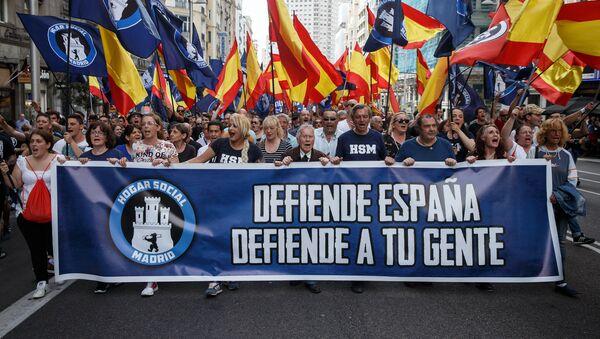 Manifestación de ultraderecha 'Hogar Social de Madrid'. - Sputnik Mundo