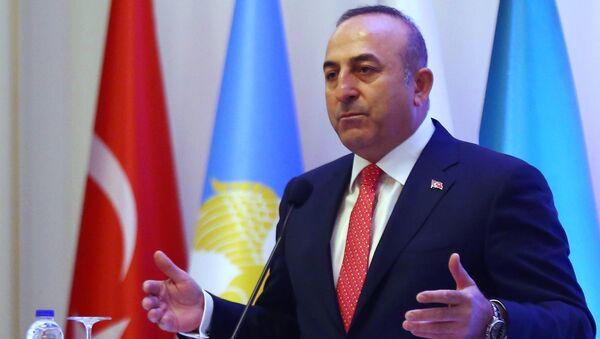 Mevlut Cavusoglu, ministro de Exteriores de Turquía durante un encuentro con los turcomanos sirios en Ankara - Sputnik Mundo