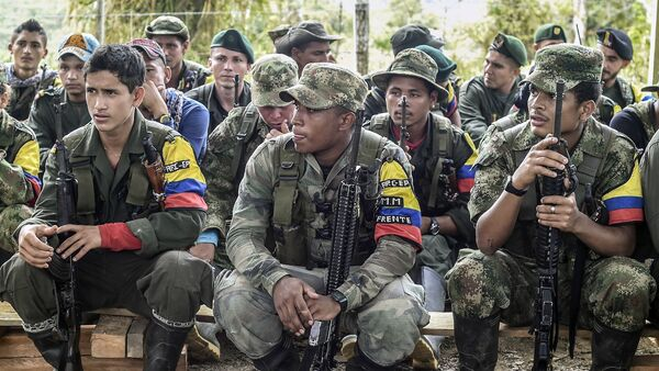 Revolutionary Armed Forces of Colombia (FARC) guerrillas listen during a class on the peace process between the Colombian government and their force, at a camp in the Colombian mountains on February 18, 2016. - Sputnik Mundo