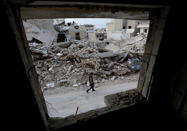 Edificios destruidos en la provincia de Idlib, Siria