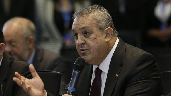 Venezuela's Oil Minister Eulogio del Pino adresses oil ministers and delegates from Colombia and Ecuador regarding the next OPEC meeting - Sputnik Mundo
