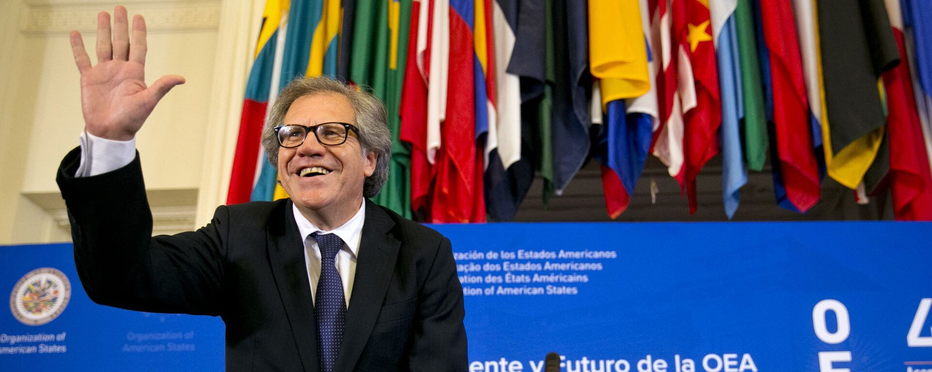 The new Organization of American States (OAS) Secretary General, former Uruguay Foreign Minister Luis Almagro, waves at the start of the general assembly's inaugural session in the Hall of the Americas, Monday June 15, 2015, at the OAS in Washington - Sputnik Mundo, 1920, 05.06.2021