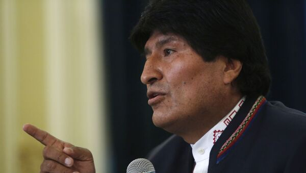Bolivia's President Evo Morales speaks during a press conference at the government palace in La Paz, Bolivia, Wednesday, Feb. 24, 2016 - Sputnik Mundo