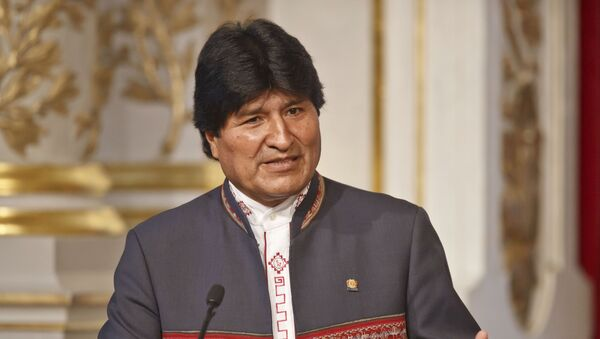 Bolivia's President Evo Morales gestures as he speaks to the media during a joint media conference with France's President Francois Hollande at the Elysee Palace in Paris - Sputnik Mundo