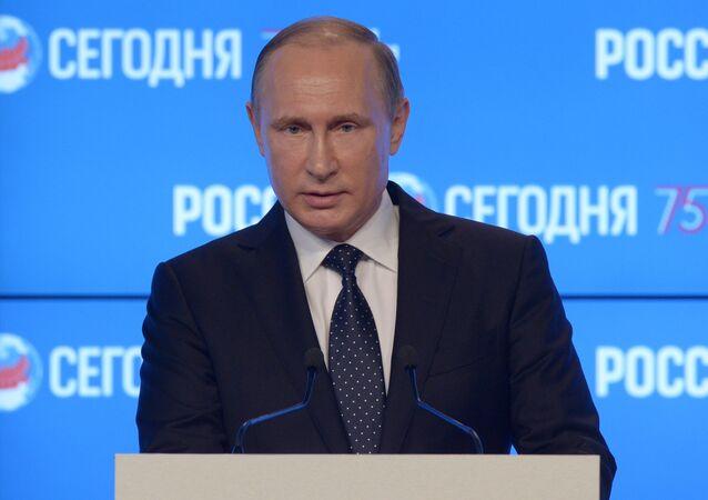 Vladímir Putin, presidente ruso, en el foro mediático de la agencia Rossiya Segodnya en Moscú