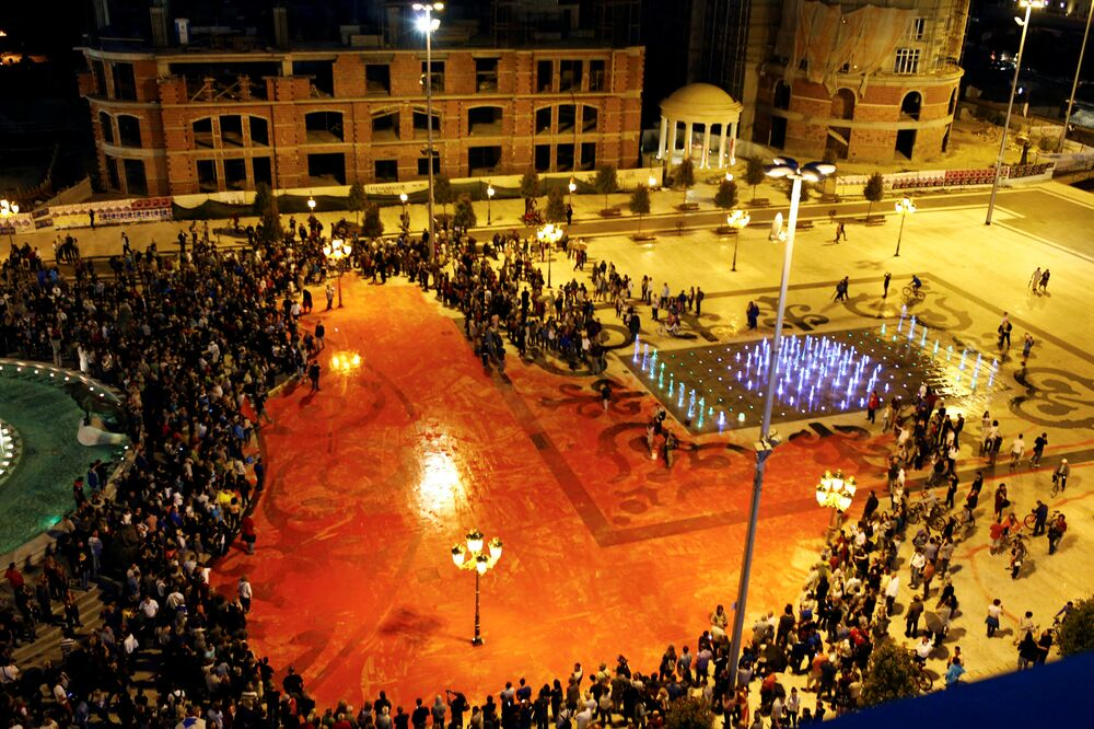 General view of protesters dispersing color paint during a protest against the government, at central square in Skopje, Macedonia, June 6, 2016