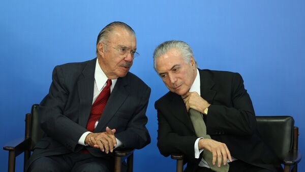 Expresidente de Brasil, José Sarney, y presidente actual, Michel Temer - Sputnik Mundo
