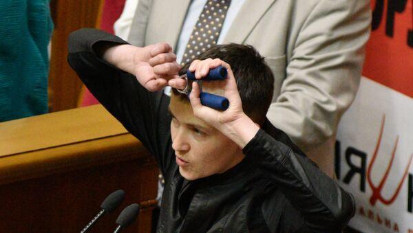 Nadezhda Sávchenko en la reunión del parlamento de Ucrania - Sputnik Mundo
