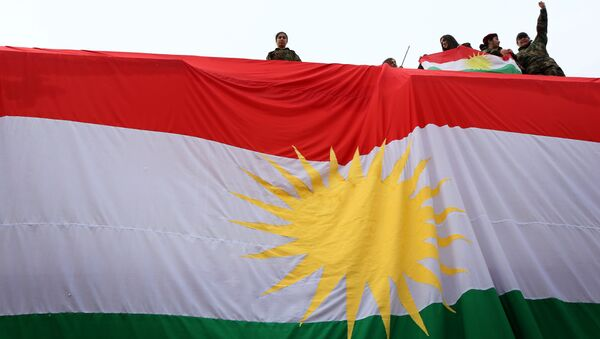 Iraqi Kurdish youths wave a national flag as they stand above a giant flag of Kurdistan during celebrations of Flag Day on December 17, 2015 - Sputnik Mundo