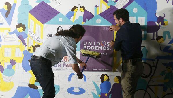 Secretario general de Podemos, Pablo Iglesias, y líder de Izquierda Unida, Alberto Garzon - Sputnik Mundo