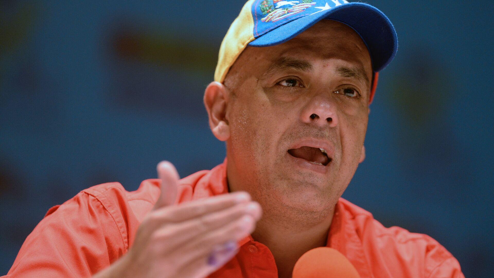 The Mayor of Libertador municipality Jorge Rodriguez speaks during a press conference at the United Socialist Party of Venezuela (PSUV)  - Sputnik Mundo, 1920, 17.08.2021