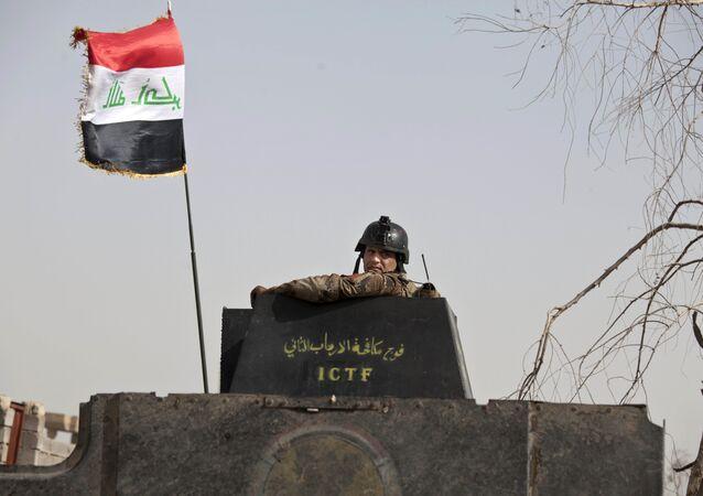 Militar iraquí durante la ofensiva para liberar la ciudad de Faluya