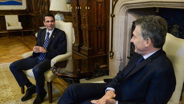 Opositor venezolano Henrique Capriles y presidente argentino Mauricio Macri - Sputnik Mundo