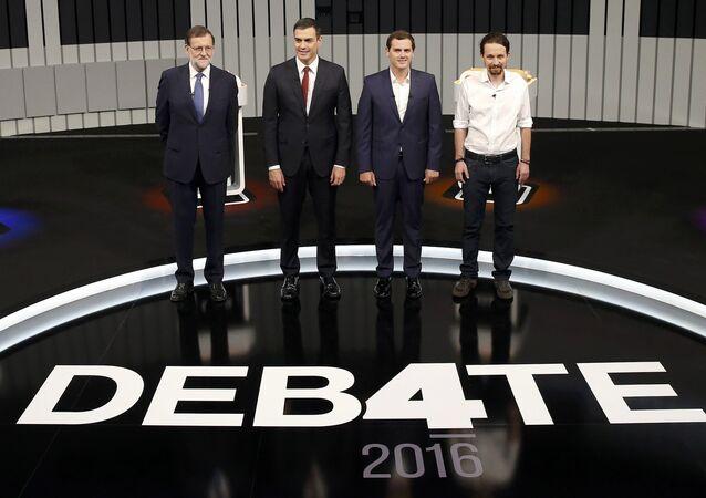 Los candidatos del Partido Popular, Mariano Rajoy; del PSOE, Pedro Sánchez; de Ciudadanos, Albert Rivera y de Podemos, Pablo Iglesias