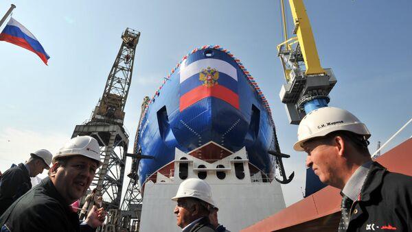 La botadura del rompehielos nuclear Árktika en San Petersburgo - Sputnik Mundo