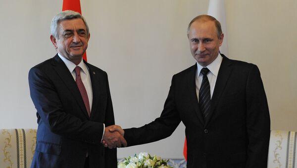 El primer ministro de Armenia, Serzh Sargsián, junto al presidente de Rusia, Vladímir Putin (archivo) - Sputnik Mundo