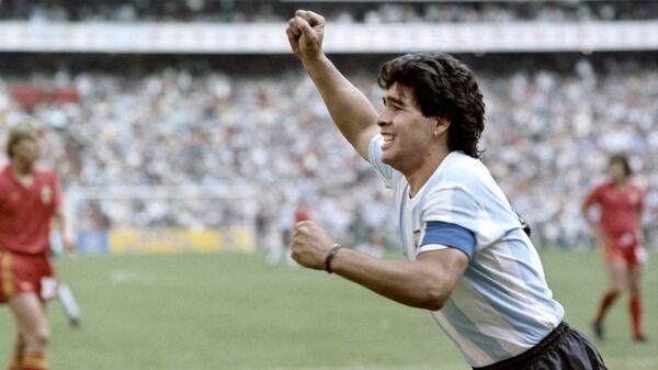 Futbolista Diego Maradona durante la Copa Mundial 1986 - Sputnik Mundo