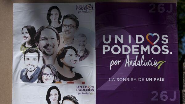 Cartel electoral de Unidos Podemos en Ronda, España - Sputnik Mundo