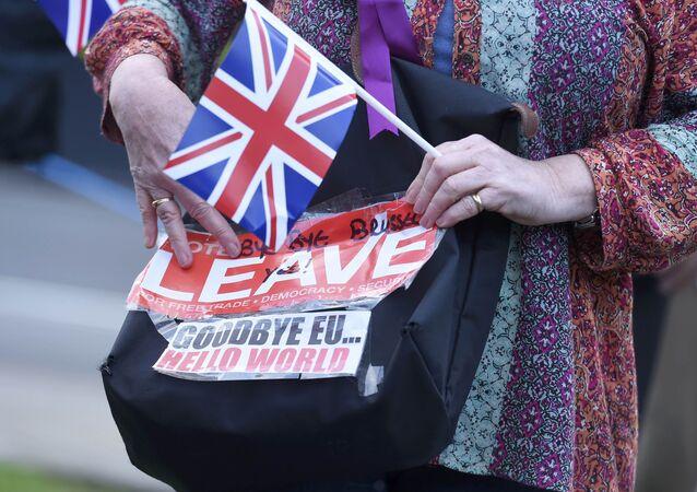 Un partidario del Brexit en Londres