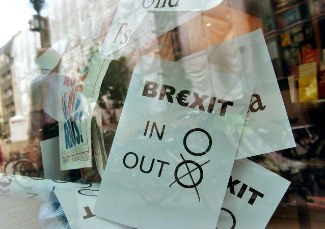 Cartel del Brexit en Berlín, Alemania