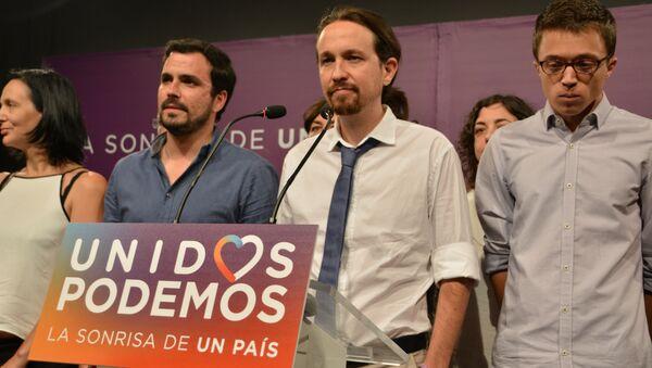 Los representantes del partido Unidos Podemos en su sede en Madrid - Sputnik Mundo