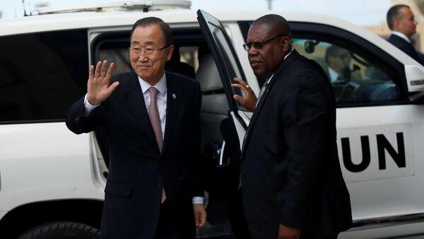 Ban Ki-moon, secretario general de la ONU, visita a la franja de Gaza - Sputnik Mundo