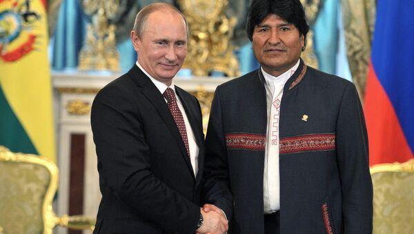Presidente de Bolivia, Evo Morales, y presidente de Rusia, Vladímir Putin (archivo) - Sputnik Mundo