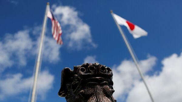 Banderas de EEUU y Japón - Sputnik Mundo