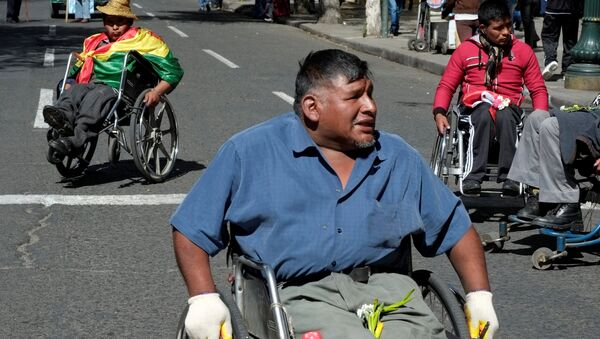 Protesta de discapacitados en La Paz, Bolivia - Sputnik Mundo