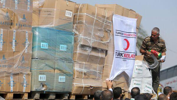 Ayuda humanitaria turca llega a Gaza - Sputnik Mundo