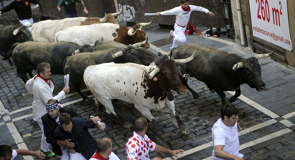 Fiesta de San Fermín en Pamplona, España (archivo)