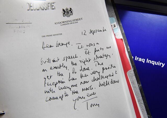 Carta de Blair a Bush, presentada en el informe de Chilcot