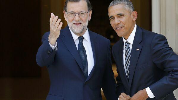 El jefe del Gobierno de España, Mariano Rajoy con el presidente de EEUU, Barack Obama - Sputnik Mundo