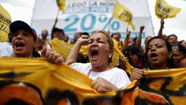 Una manifestación de los partidarios de la oposición en Caracas - Sputnik Mundo