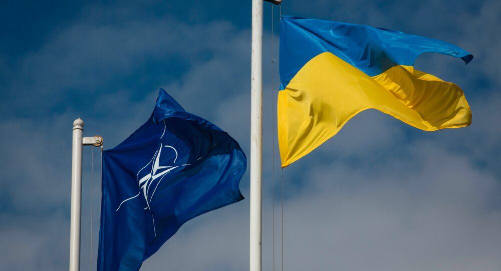 Las banderas de la OTAN y Ucrania (archivo)