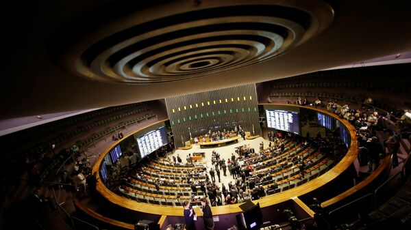 A general view is seen of the plenary chamber of deputies during the session to elect the new president of the chamber of deputies in the National Congress in Brasilia, Brazil July 13, 2016.  - Sputnik Mundo