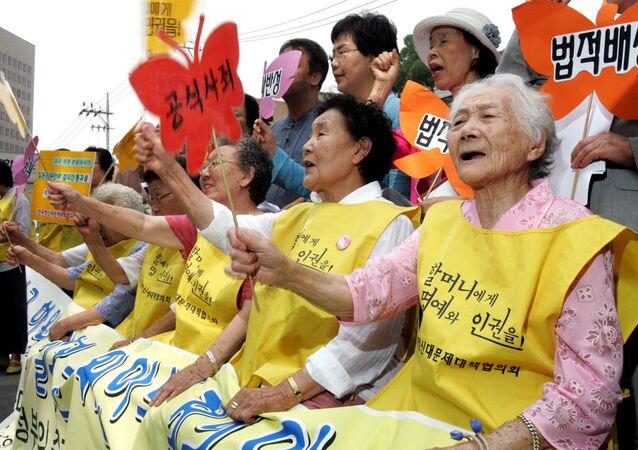 Protesta de ex 'mujeres de consuelo' surcoreanas (archivo)